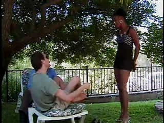 Black girl fucks two guys for audition