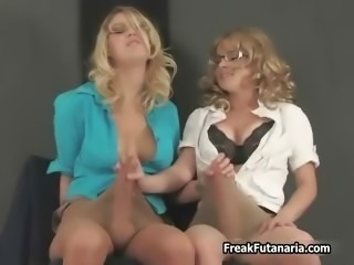 Hot blonde babes go crazy jerking part5