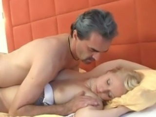 Aged man fucks sleeping nubile honey making her orgasm