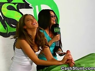 Amateur Girls Participate In Money Talks Handjob Stunt