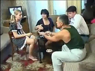 Russian poker strip game ends in an drunk orgy