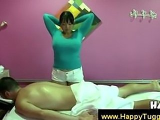 Asian masseuse accidentally touches his dick