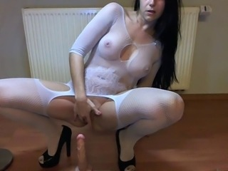 Amateur Amazing Brunette Dildo Lingerie Masturbating MILF Solo Stockings Toy
