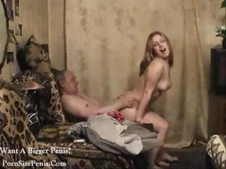 Russian Babe Dedushka Rides On His Hard Cock On Homemade Video