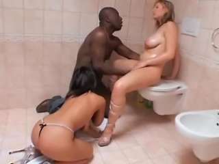 Big Tits Hardcore Interracial MILF Oiled Pornstar Threesome Toilet