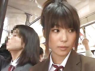 Asian Babe Bus Cute Japanese Public Student Teen Uniform