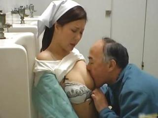 Asian Japanese MILF Old and Young Public Toilet Uniform
