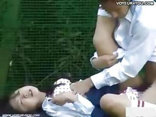 Horny Young Asian Couple Have Hardcore Sex On A Bench In The Outdoors