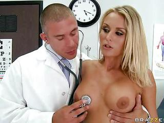 Irresistibly Sexy Blonde Laura Crystal Gets Naked To Get Her Big Boobed And Shaved Pussy Examined By Doctor. She Touches Her Perfect Tits And Explores Her Love Hole Before Filling Her Wet Tunnel With His Rock Stiff Dick.