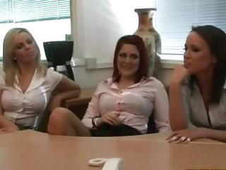 Office Sluts Make Their Victim Wank His Dick To Get It Hard