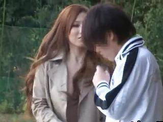 Asian Babe Japanese Long hair Outdoor Voyeur