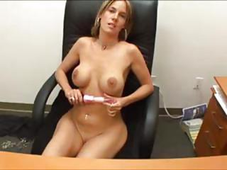 Busty Blonde Milf Secretary Fingers Pussy And Titty Fucks Boss