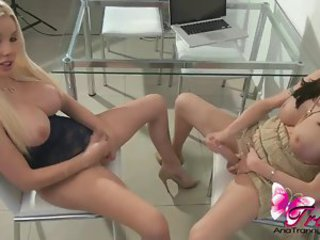 Ana Mancini and Marian Cordoba sucking cock