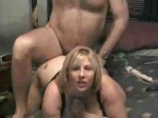 Chubby blonde and husband make a home video of them fucking