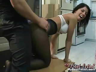 Tiffany Preston silk panties pulled down and cock rubbed between cheeks