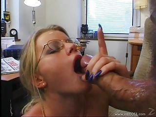 Hot Lea De Mae gets ass nailed hard and facialised in the office