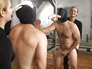 Mistress Sade Fucks With Her Hooded Slave And Makes Him Jerk Off