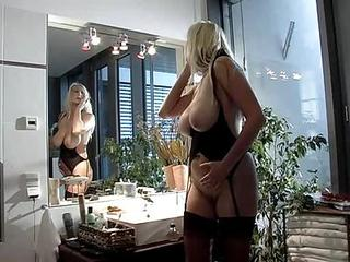 Amazing Big Tits Blonde European German MILF Stockings