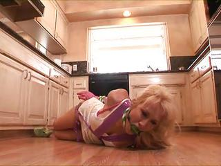 Alana Evans Is Tied Up And Stuffed In The Kitchen