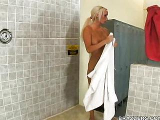 Amazing Big Tits Blonde MILF Pornstar Showers