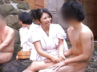 Rare Outdoors Japanese Group Mixed Bathing Bathhouse