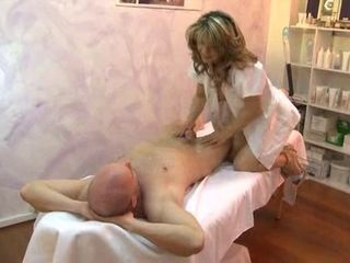 Horny massage therapist gets fucked after giving massage