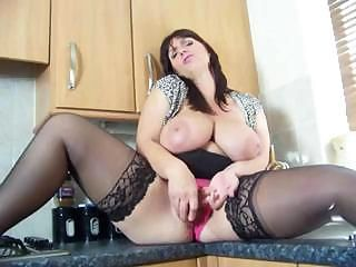 British Josephine James plays with herself in the kitchen