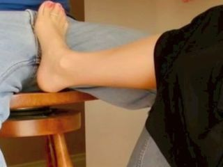 Nylon foot moved to crotch by tickling it