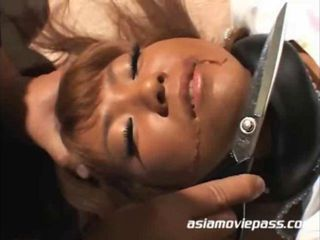 Big tits Asian babe tied up and gets her pussy and ass fucked with different sex toys.