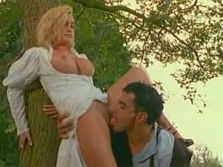 Sexy blonde fucking in the forest
