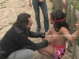 Elegant slut stripped of clothes on the public streets and banged in public and in club in total humiliation rough sex video scene