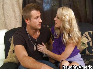 Blonde MILF has multiple orgasms on couch
