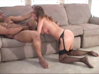 Housewife in stockings becomes gangbang slut