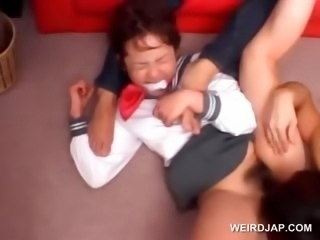 Asian Forced Hairy Hardcore Japanese School Teen Threesome Uniform
