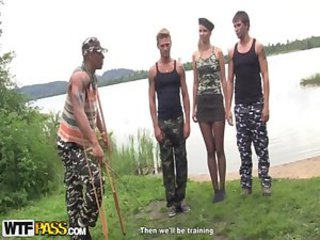 Army Beach Gangbang Outdoor Russian Teen