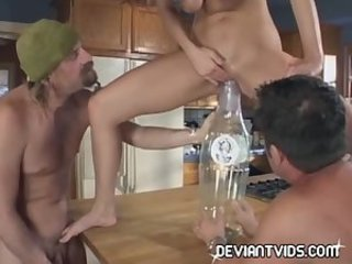 Great threesome in the kitchen