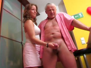 CFNM Handjob Old and Young Teen