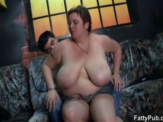Big titted lady rides his young meat