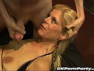 Sexy British milfs Lady Bukkake and Sandy get fucked in a gangbang party that...
