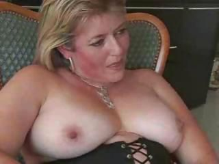 Short-haired blonde French bimbo MILF boinks a younger man