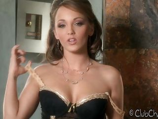 Sweet looking Charlie Laine feels horny stripping off her lingerie