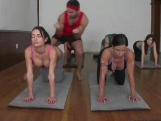 Horny cfnm babes working out and...