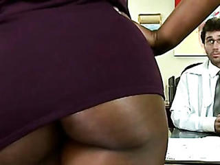 Ebony MILF Office Pornstar