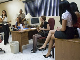 CFNM MILF Office Party Stockings