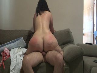 Chubby ass MILF rides cowgirl...