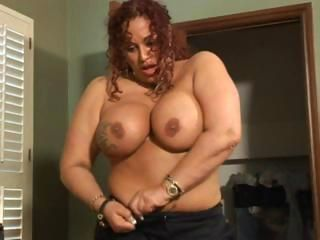 Busty chubby Gina blows him a...
