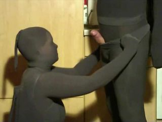 Yvonne wants to spoil her friend She puts gray opaque pantyhose on And then she strokes tenderly her friend and he