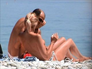 incredible french blond girl topless beach french riviera