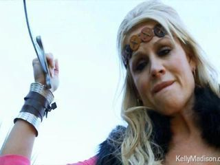 Busty Viking Kelly Madison cant summon the will to slay a dragon but she can blow his huge cock.