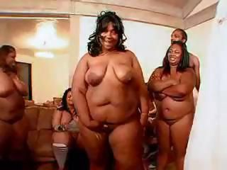 BBW hoochies getting pleased by a gang of hung black stallions